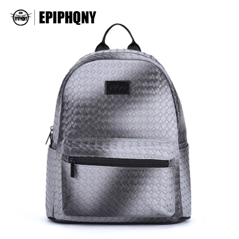 Famous Brand Gray Woven PU Leather Backpack Women Students Shoulder Bagpack Fashion Small Back Pack for Teens Girls