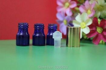 1ML Blue Glass Ball Bottle, Essential Oil Bottle, Mini Glass Roll on Bottle, Perfume ball Bottles, 1CC Blue Vial, 100pcs/Lot