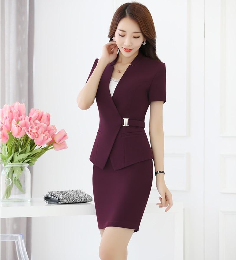 Verão Roxo Formal Blazer Mulheres Ternos de Negócio com Saia e Casaco Define Styles Uniformes Ladies Escritório Desgaste Do Trabalho