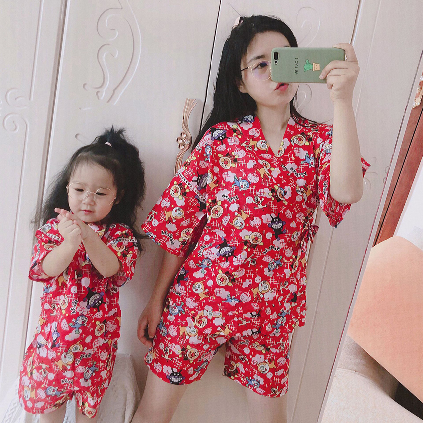 Mommy And Me Japanese Kimono Traditional Yukata Home Sleepwear Pajamas Kids Girls Jinbei Harajuku Oriental Family Clothing