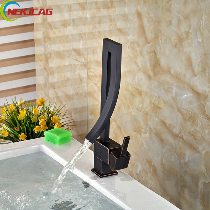 Oil Rubbed Bronze Waterfall Bathroom Faucet Deck Mounted Basin Tap Single Handle One Hole Mixer Tap niugul 4pcs lot dmx led par 54x3w rgbw stage par light wash dimming strobe lighting effect light for disco dj party show par led