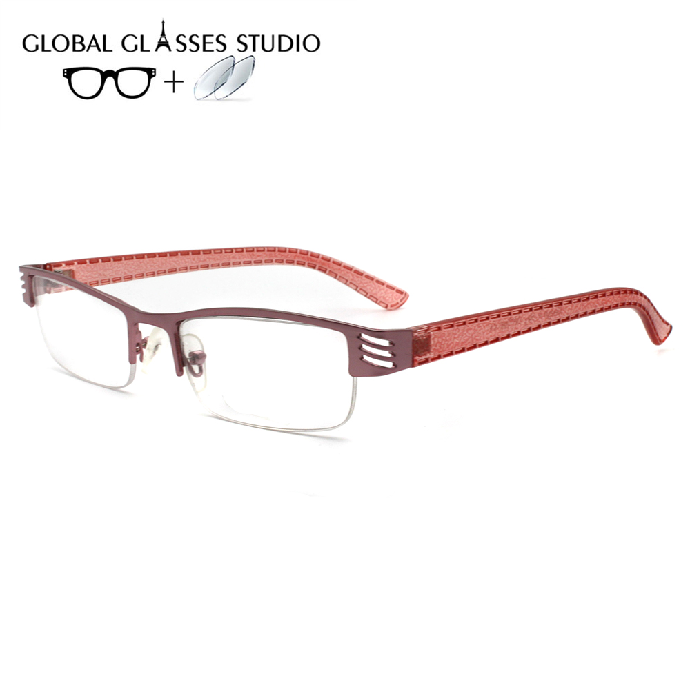 Women Metal  Glasses Frame Eyewear Eyeglasses Reading Myopia Prescription Lens 1.56 Index A710 Pink(China)