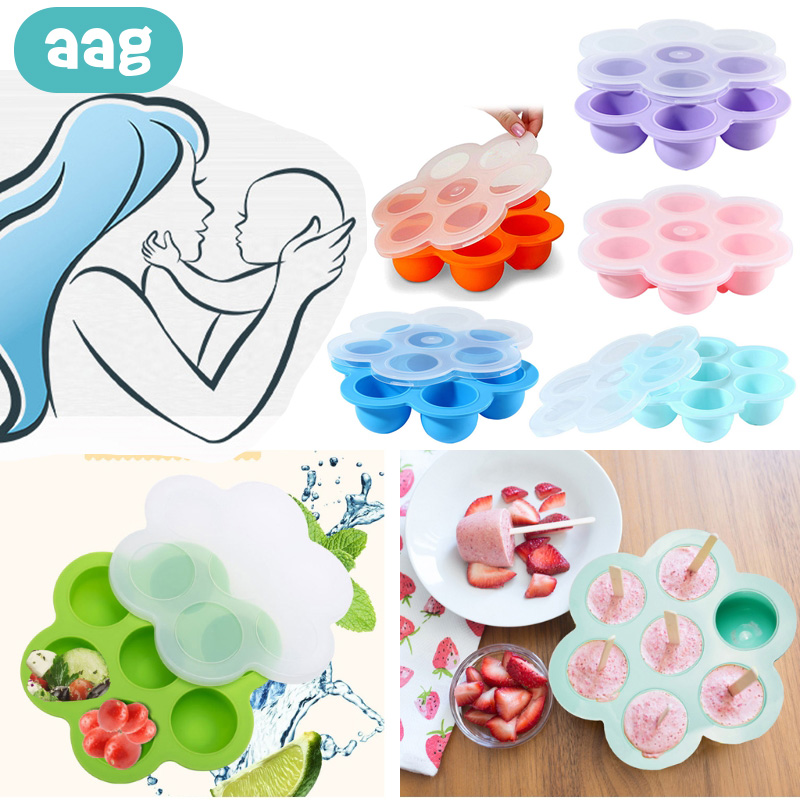 AAG 2 IN 1 Silicone Baby Egg Bites Molds Food Storage Container Silicone Freezer Tray with Clip-on Lid Ice Cube Pressure Cooker