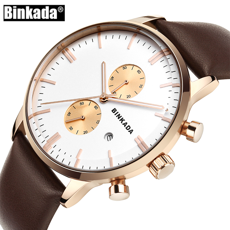 Top Brand Luxury Men Military Sport Luminous Wristwatch BINKADA Mens Watches Chronograph Leather Quartz Watch Relogio Masculino 2017 jedir mens watches top brand luxury military sport quartz watch chronograph luminous analog wristwatch relogio masculino