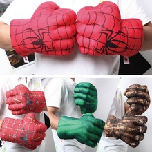 Plush toys Marvel Avengers soft Gloves Ironman Spiderman Hulk 5 colors Giant fist birthday party gifts for kids Set of two hands