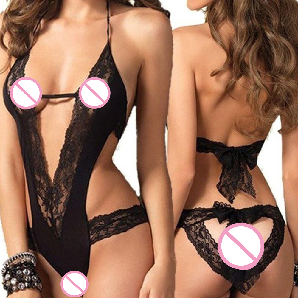 1 Pcs Women Sexy Black Lace Splice Exotic Apparel Women Baby Dolls Hollow Half Slip Backless Sexy Costume