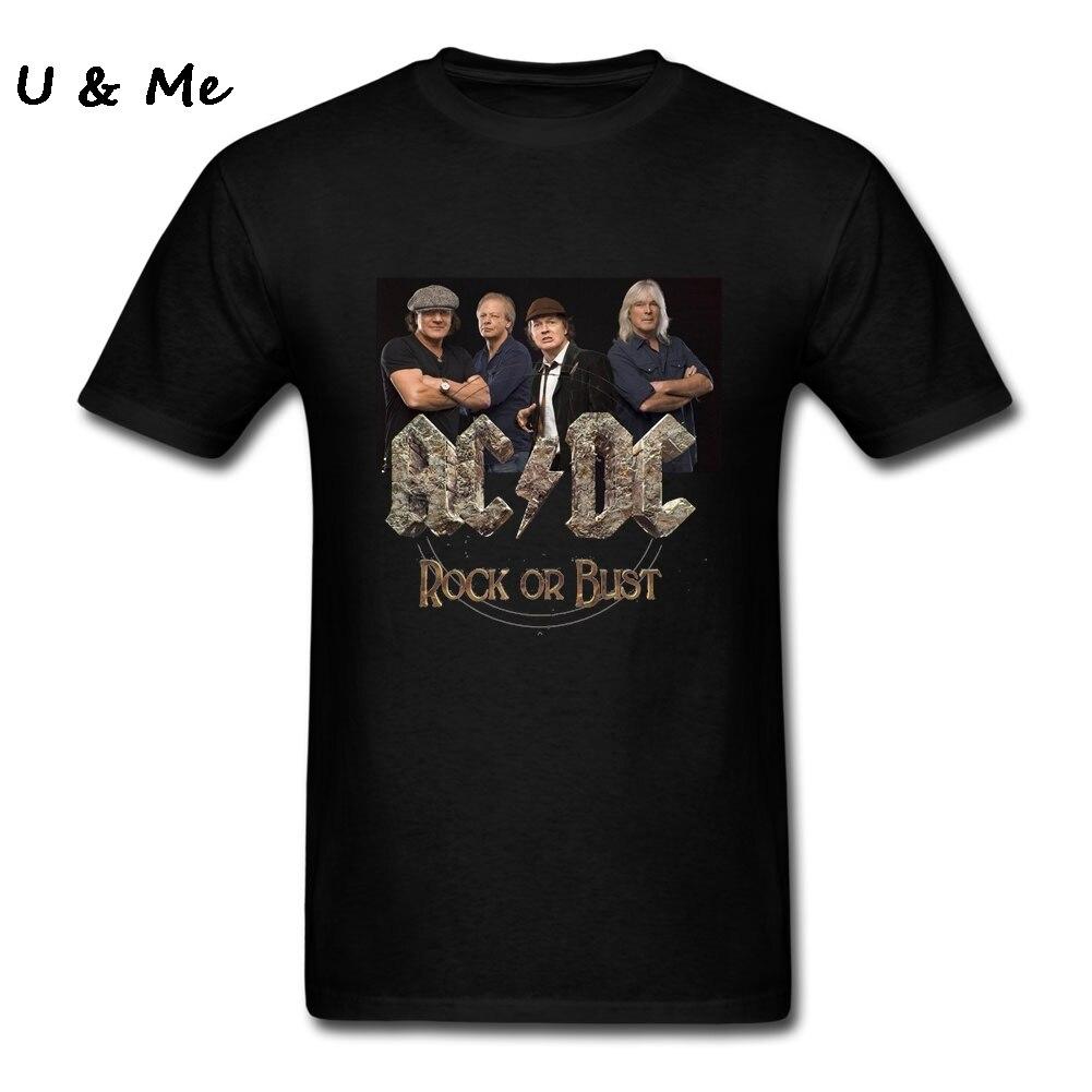 ACDC Rock T Shirt Men Custom Design ROCK OR BUST T-Shirts Music Hip Hop Clothing Big Boy Tops