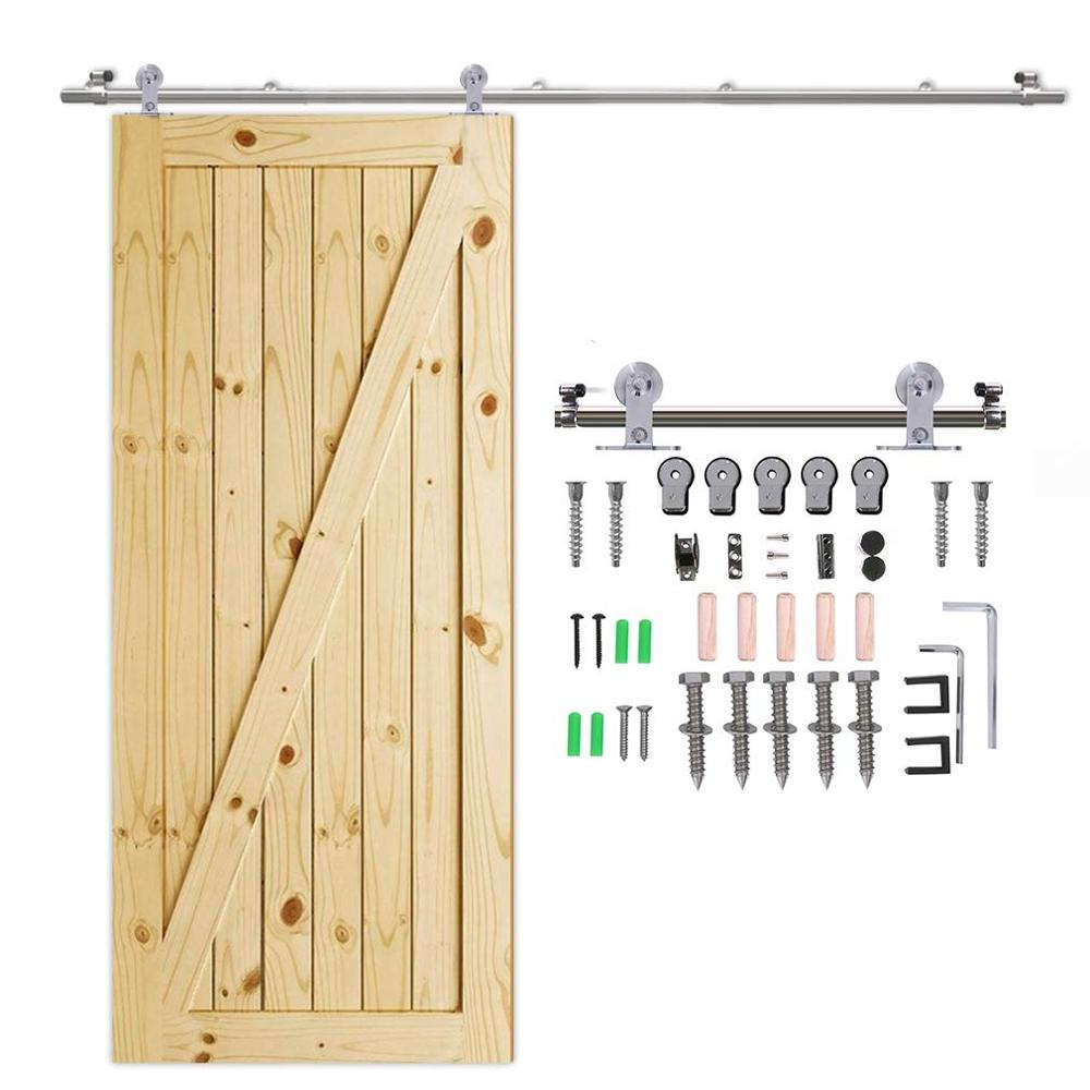 LWZH 4-9.6FT T-Shaped Silver Stainless Steel Puerta Corredera Wooden and Glass Sliding Door Hardware Kit for Single Door