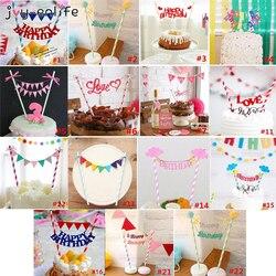 Conjunto 1 Happy Birthday Cake Topper Bandeira Do Queque Do Chuveiro de Bebê Festa de Aniversário Decoração Do Bolo Baking Partido Weddind Decoração Suprimentos
