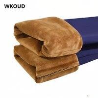 WKOUD плюс размер зимние теплые леггинсы для женщин с высокой талией черные однотонные брюки-карандаши синие плотные длинные женские брюки ...
