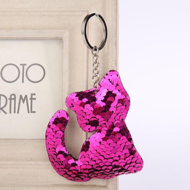 Gato bonito Chaveiro Presentes Chave Anel Pompon Glitter Lantejoulas Mulheres Encantos Decorativos Acessórios do Saco Chave Do Carro Cadeia
