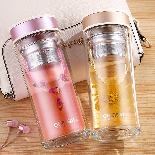 Oneisall 480ml Double Walled Male Female Mug Heat Preservation Gl Water Bottle Tumbler With Tea Filter