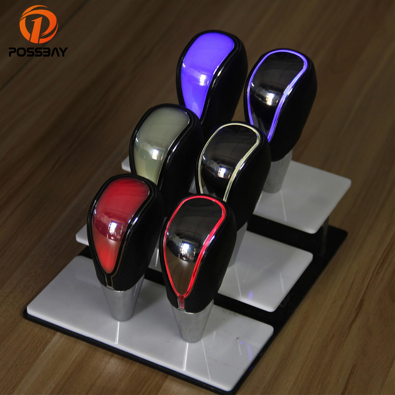 POSSBAY Color Changeable LED Gear Shift Knob Touch Activated Manual Gear Knob Universal Gear Handle Knob