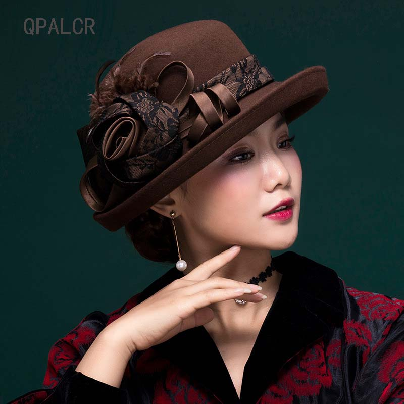 QPALCR Winter Retro Wool Fedoras Hats For Women Formal Elegant Flower Felt Hat Curl Brim Dome Church Hat Classic Fascinators Cap