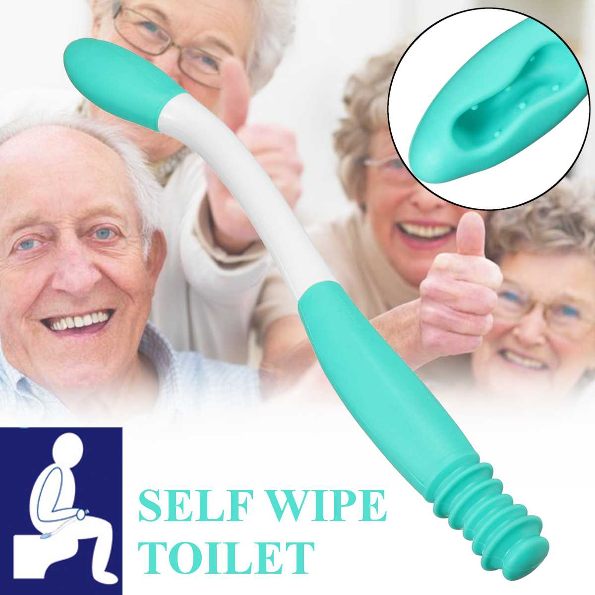 Long Handle Reach Comfort Bottom Wiper Self Wipe Assist Holder Toilet Paper Tissue Grip Self Wipe Aid Motion Assistance H