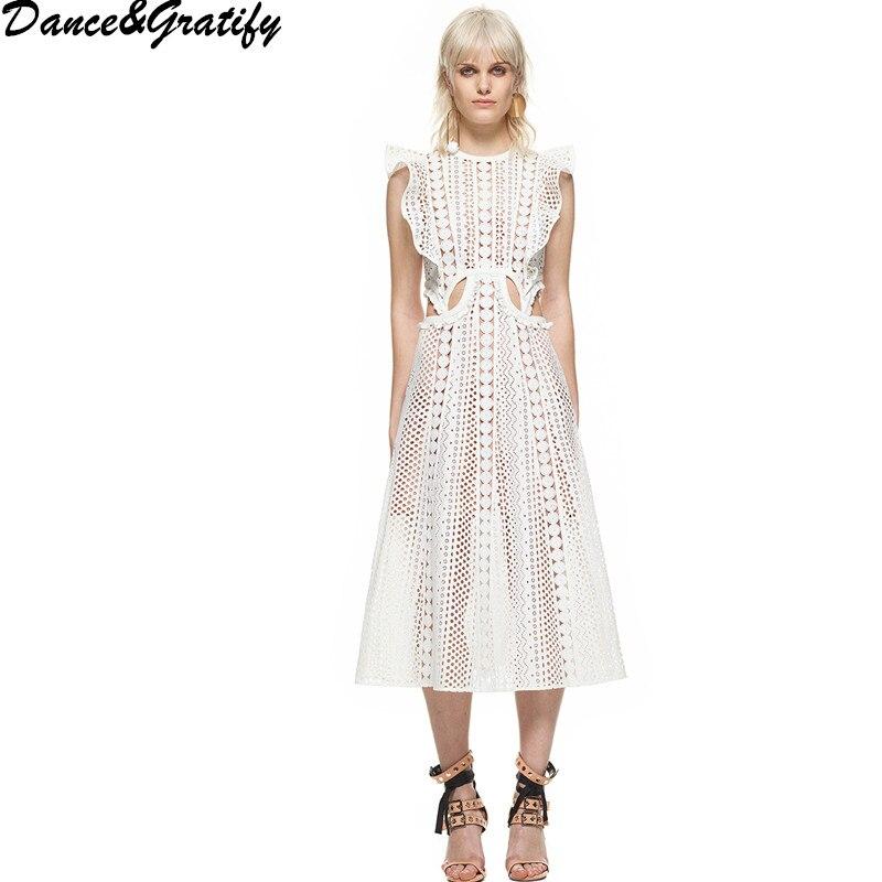 High Quality Self Portrait Runway Dress 2018 Women Summer Embroidery Lace Boho Dress High Waist Sleeveless