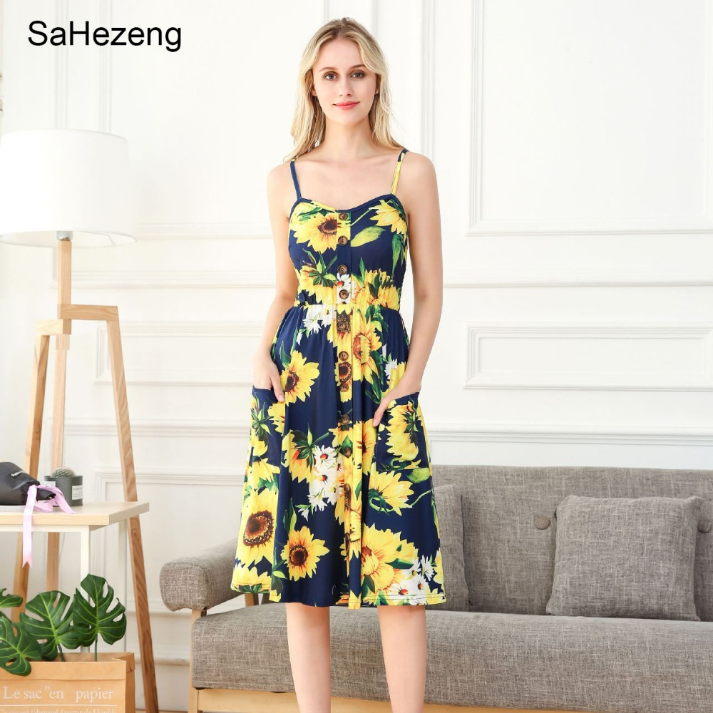 <font><b>Sexy</b></font> V Neck Floral Print <font><b>Summer</b></font> <font><b>Dress</b></font> <font><b>Women</b></font> Sleeveless <font><b>Boho</b></font> Casual Midi <font><b>Dress</b></font> Female <font><b>2018</b></font> Stripe <font><b>Dress</b></font> Vestido Plus Size DS16 image