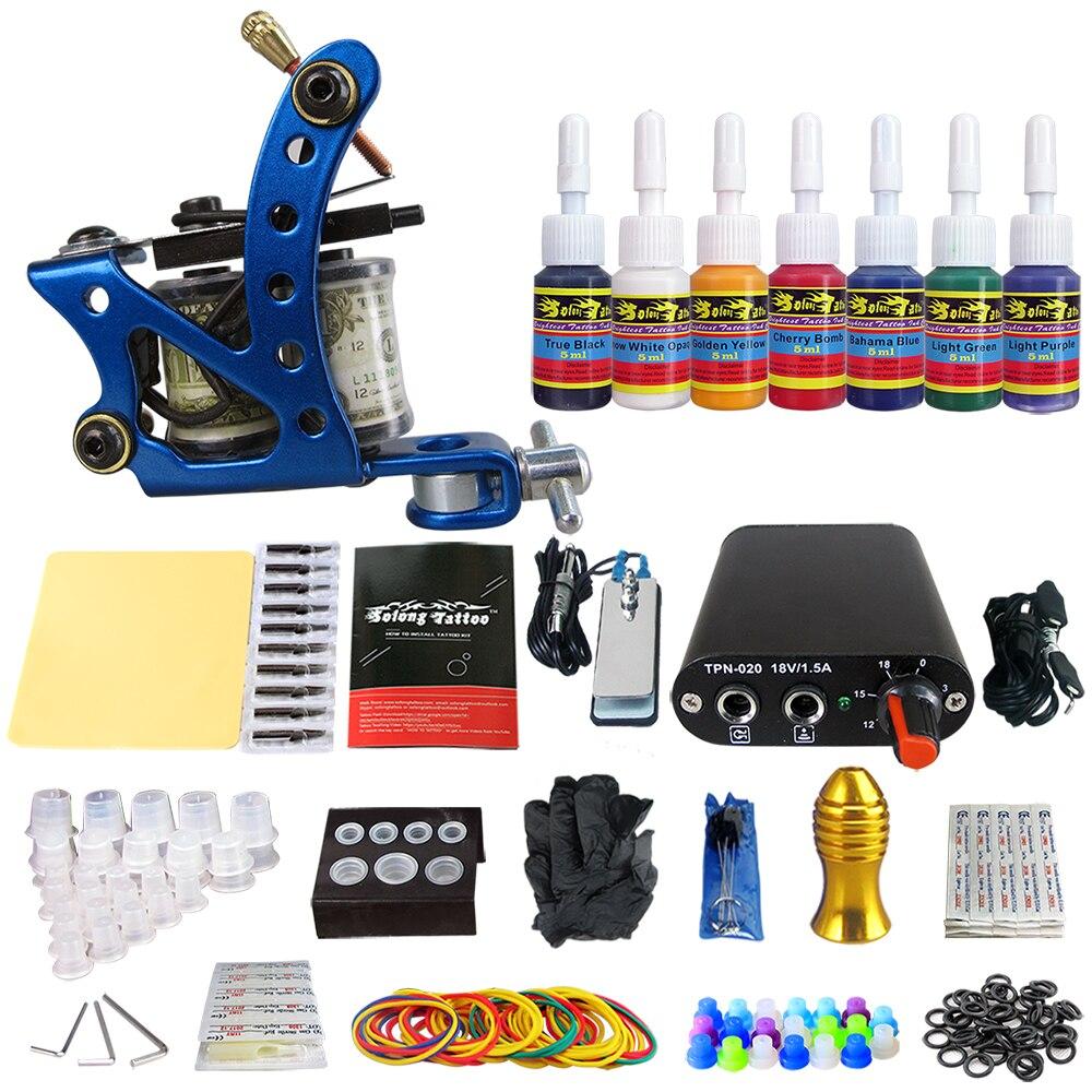 Tattoo Beginner 1 Pro Machine Tattoo Kit Power Supply 7 color ink set TK105-7 global beginner coursebook eworkbook pack
