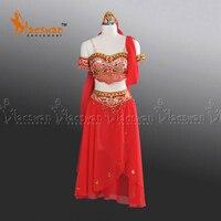 Красные профессиональные Балетные костюмы для девочек в арабском стиле, балетное платье, костюм с головкой для танцевального шоу, костюм в