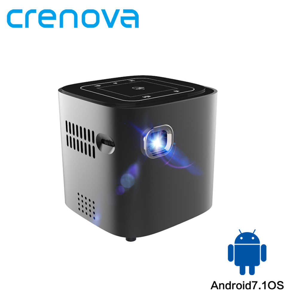 CRENOVA 2019 Newest Mini Projector For Full HD 1080P Android 7.1.2 OS Portable DLP Projector With WIFI Bluetooth Battery Beamer