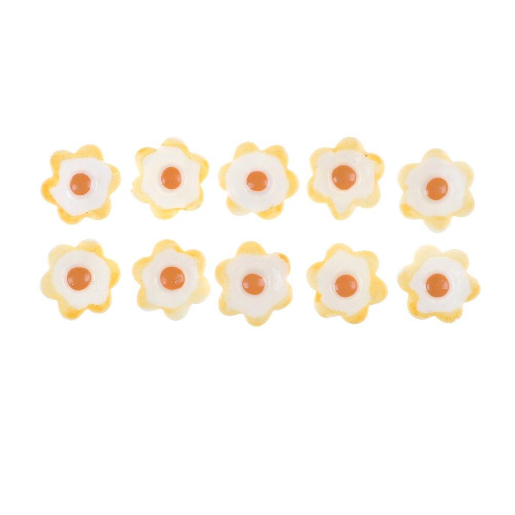 10PCS 1 8cmx1 8cmx0 5cm DIY Kawaii Resin Fried Eggs White Egg Flatback Cabochons Dollhouse Miniature