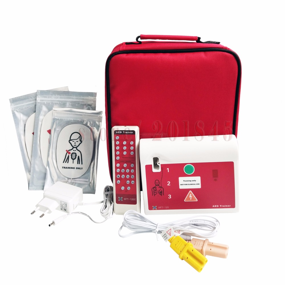 AED/Simlation Trainer XFT-120C First Aid AED/CPR Training Teaching Device Practice Machine With Electrode Pads And Language Card free shipping 20 pairs pack adult aed training machine electrode pads replacement sticky aed patch first aid training