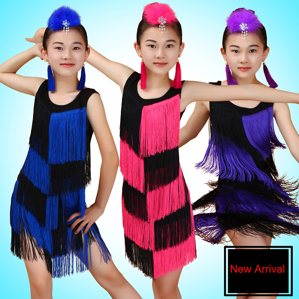Latin Dance Costumes For Girls Kids Junior Latin Dresses Fringe Tassel Ballroom Tango Dress Children one-Piece Stage Performance
