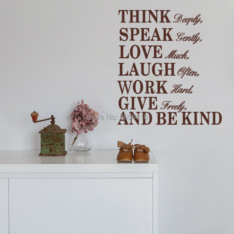 Inspirational Quotes Think Deeply Speaks Gently Wall Sticker Motivational Words Art Vinyl Wall Decal Living Room Office Decor