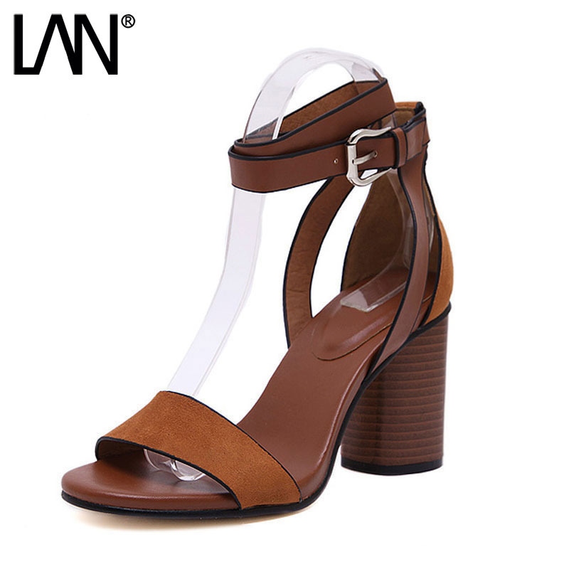 LANSHULAN 2017 New Women Sandals Open Toe Buckle Strap High Square Heel Shoes Fashion Sexy Comfort Women Pumps Faux Leather xiaying smile summer new woman sandals platform women pumps buckle strap high square heel fashion casual flock lady women shoes