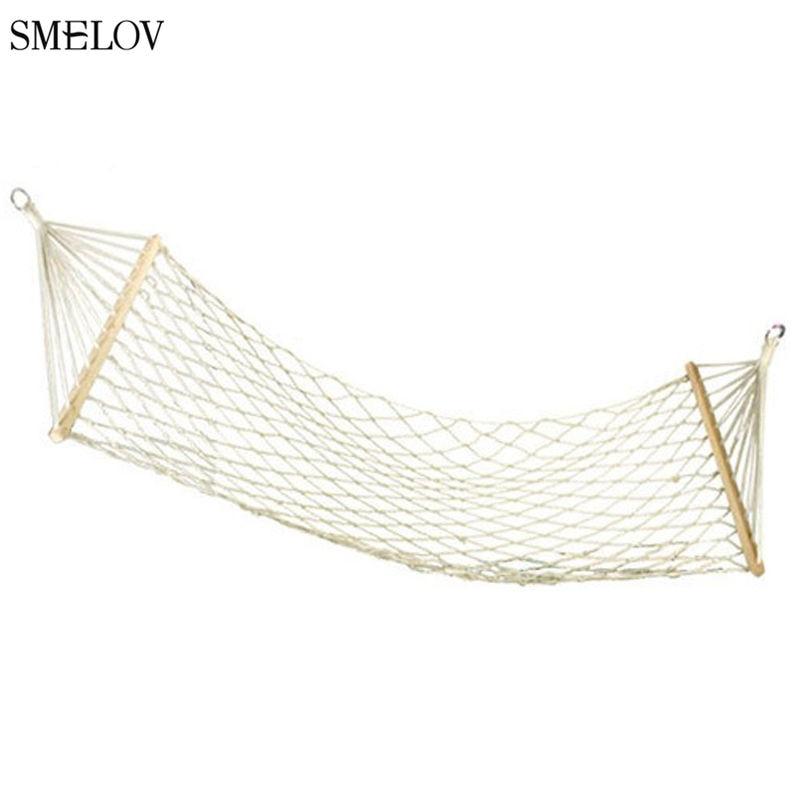 Outdoor Indoor 1/2 Person Hammock Thicken Durable Mesh Cotton Rope Stick Hammock Camping Garden Hanging Sleeping Swing Hammock