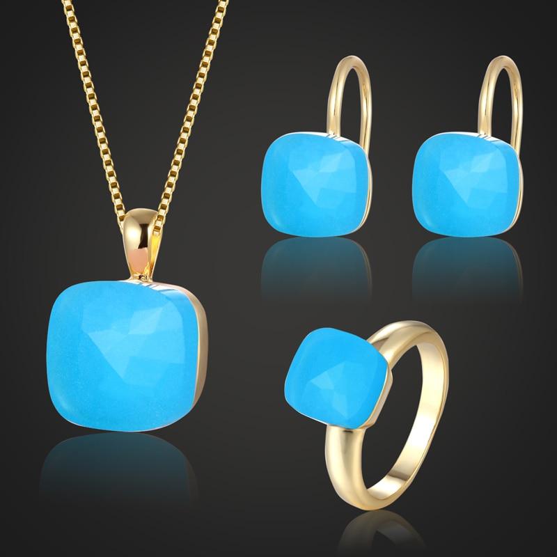 Zlxgirl jewelry metal copper Blue opal Rhinestone jewelry sets fashion women's bridal accessories sets Russian design jewellery