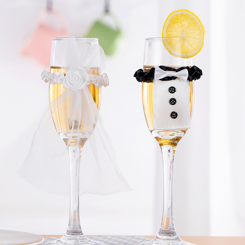 Wedding Wine Glass Cups Set Covers Bride Groom Costume Glass DIY Decorations Holiday Party Holiday Cup Accessories Gadgets