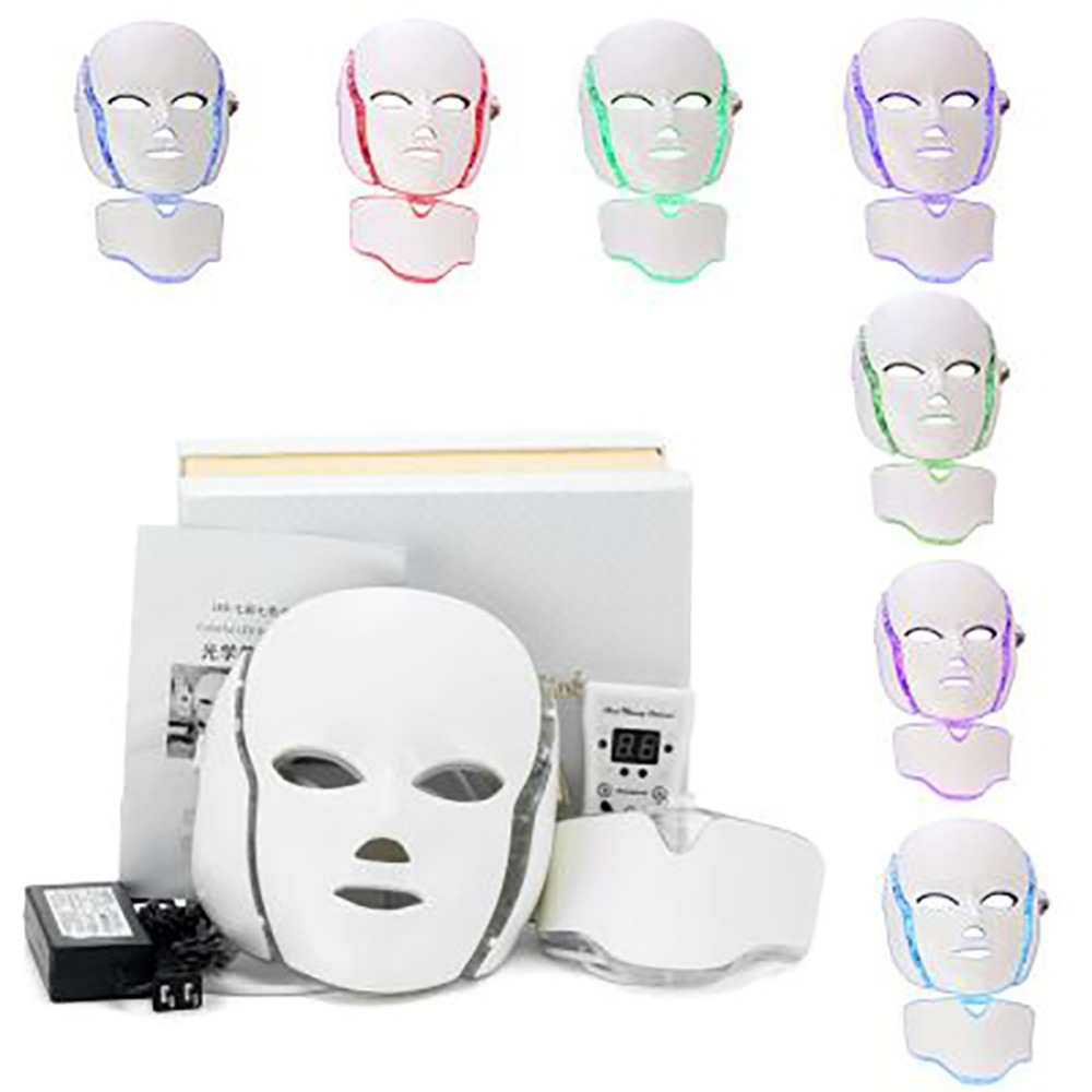 7 Colors LED Facial Mask Photon Electric LED Mask Whitening Anti Wrinkle Acne Removal Face Skin Rejuvenation Facial Spa Salon 7 colors light photon electric led facial mask skin pdt skin rejuvenation anti acne wrinkle removal therapy beauty salon