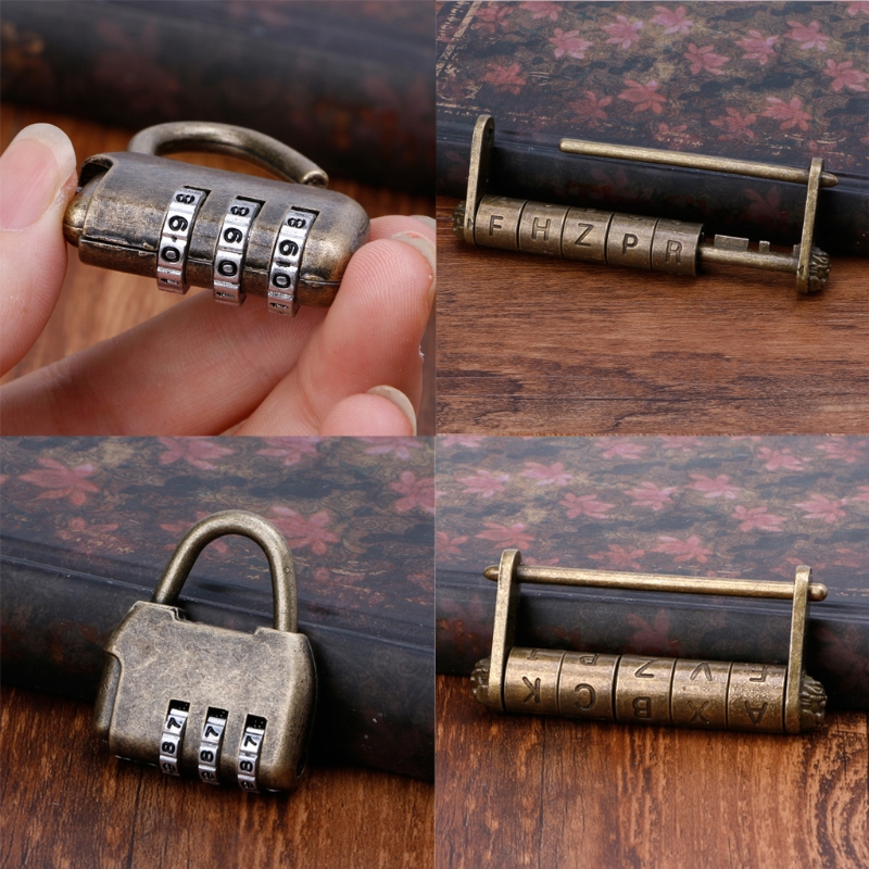 Antique Vintage Combination Password Padlocks Decor Locks for Jewelry Wooden Box Exquisite workmanship 100% brand new