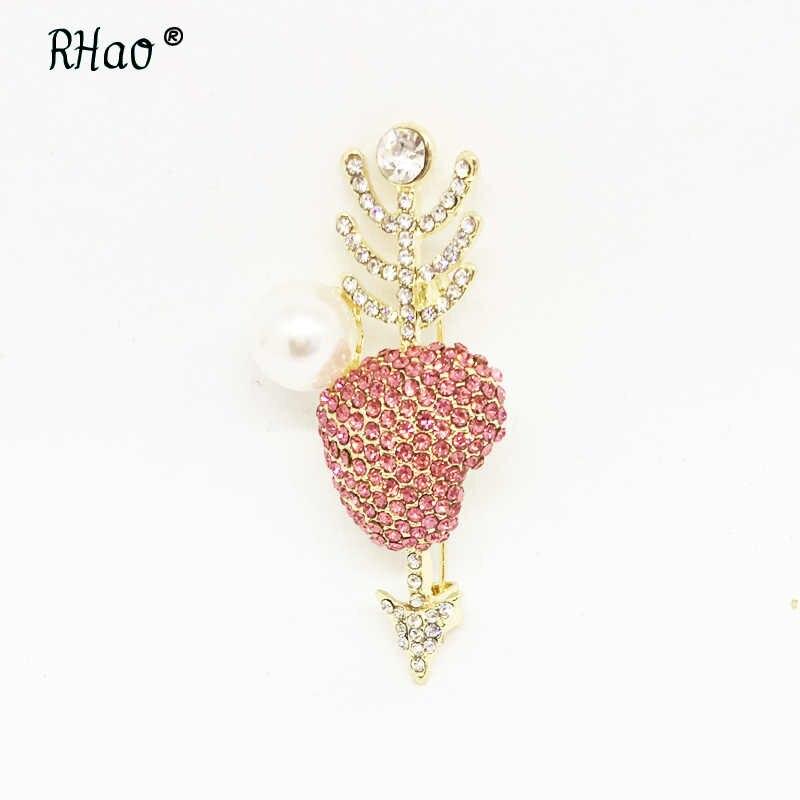 Cute pink Kristal Jantung Panah Panah melalui jantung lovers sesuai Korsase Bros pins pernikahan bros jilbab pin syal lencana