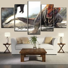 Museum Wall Decor Artwork 5 Panel Big Fierce Dinosaurs Painting Modern Top-Rated Canvas Print Modular Picture Framework