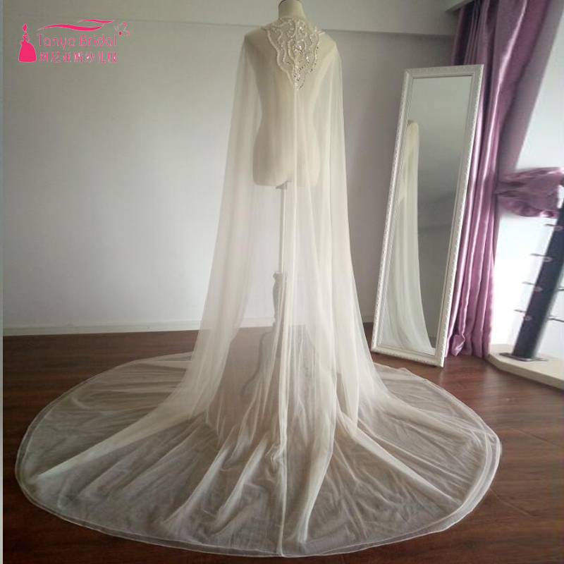 Champagne Long Wrap For Wedding Dresses 2m length Two Layer Tulle Sequined beaded Long Cape For