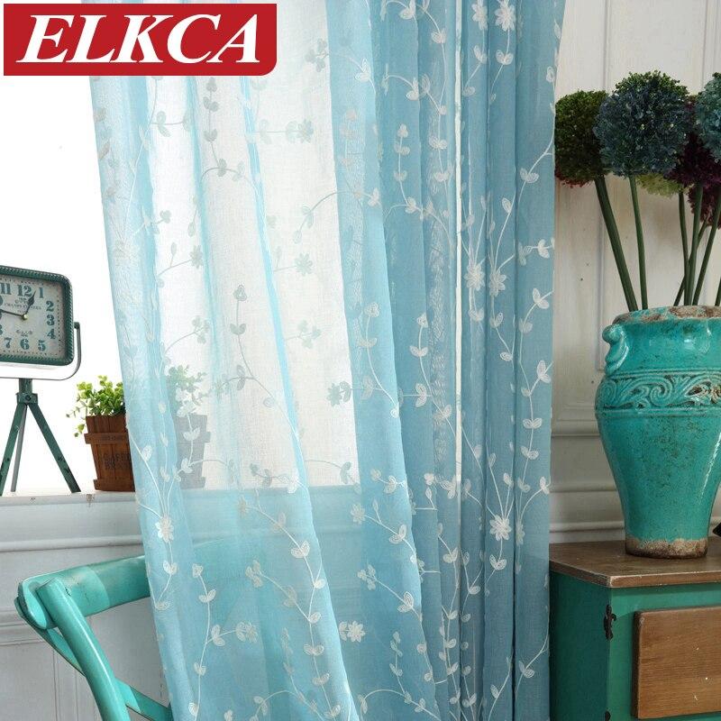 Corea floral azul bordado voile Cortinas para sala Sheer tulle