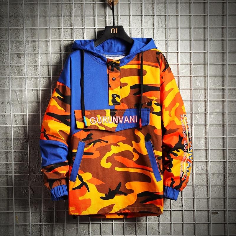 Color Block Patchwork Hooded Sweatshirts 2019 Man Hip Hop Hoodies  Embroidery Pullover Hoodies Harajuku Streetwear