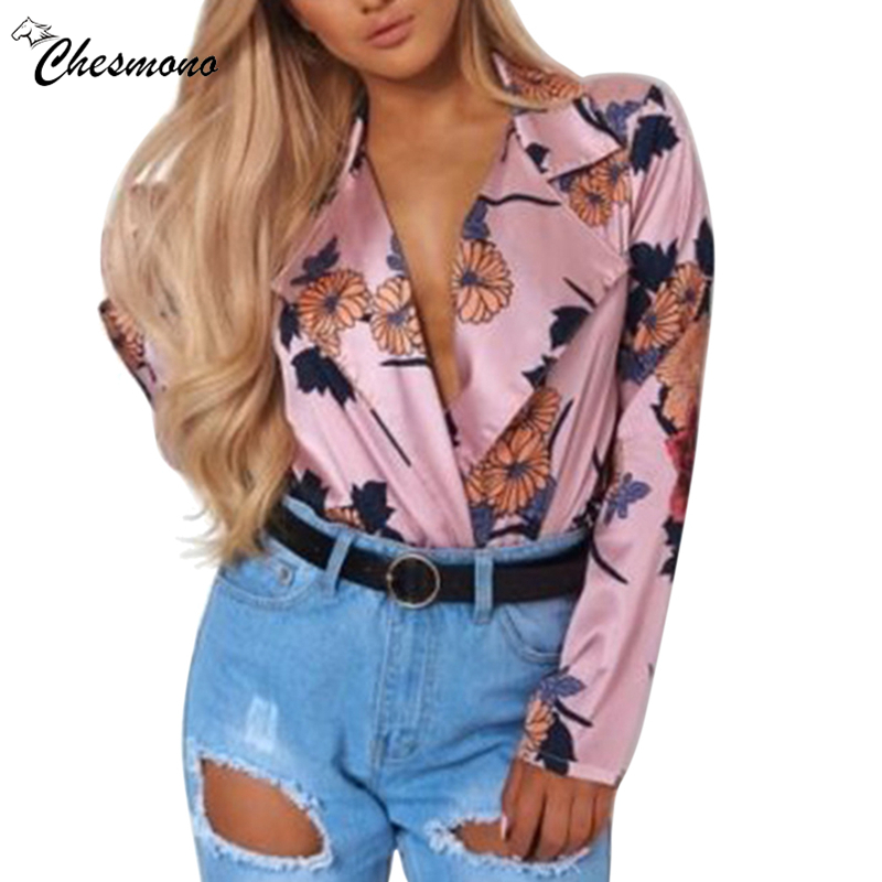 Sexy turn-down collar long sleeve jumpsuit romper Women shirt collar floral print Playsuits Summer beach casual short overalls
