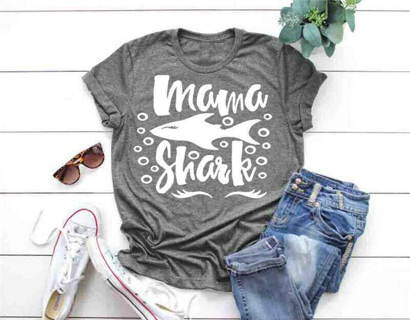 Ibu Hari Tee Ibu Hiu T Shirt Mama Shark Tee Ibu Hiu Lucu Kemeja Keluarga Hiu Kaos Couple Adik Nenek tshirts