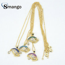5Pieces, The Rainbow Series Women Fashion  Tearful Eyes Shape CZ Prong Setting Necklace And Pendant, Four Colors Can Mix