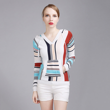 Фотография Hooded Ladies Sweaters Pullovers Knitted Striped V Neck Slim Sweater Long Sleeves Christmas Sweater Sudaderas Women Wear 50N0495