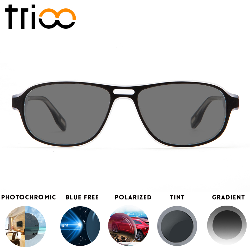 TRIOO Cool Sunglasses With Diopters UV400 Black Prescription Glasses for men Acetate Minus Eye Glasses Photochromic Glasses