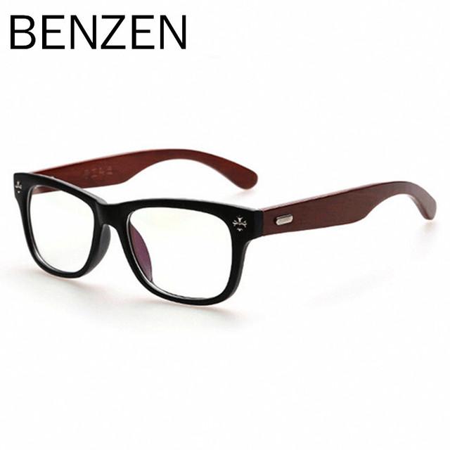 BENZEN Óculos Frame Retro Mulheres Homens óculos de Leitura de Madeira Feitos À Mão Óculos Óptica Óculos de Armação Limpar Lens Óculos Com Caso 5013