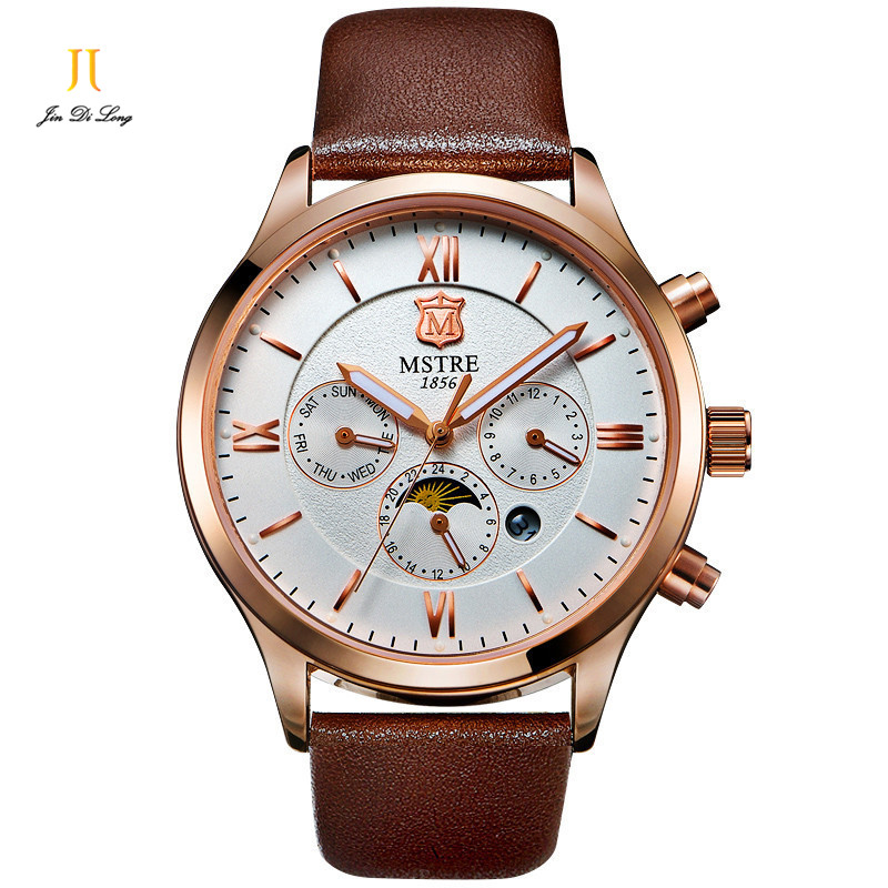 Brand Men's Quartz Watch Genuine Leather Male Wristwatch Men Watch 6 Pointer Rome Numeral Moon Phase Chronograph