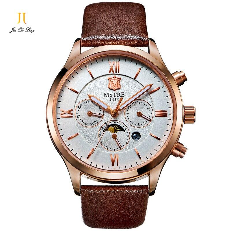 Brand Men's Quartz Watch Genuine Leather Male Wristwatch Men Watch 6 Pointer Rome Numeral Moon Phase Chronograph