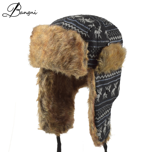 58e97466 Unisex Winter Knit Ear Flap Cap Men Russian Ushanka cossack Women's Trapper  Faux Fur Bomber Hat Pilot Aviator Cap Hat