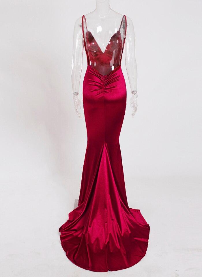 Deep V-Neck Burgundy Satin Mermaid Open Back Long Evening Dress 35
