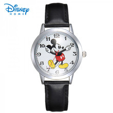 100% Genuine Disney children Mickey mouse cartoon watch fashion digital Wristwatch Relogio Clock casual quartz leather watches